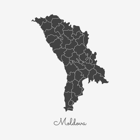 Moldova region map: grey outline on white background. Detailed map of Moldova regions. Vector illustration.