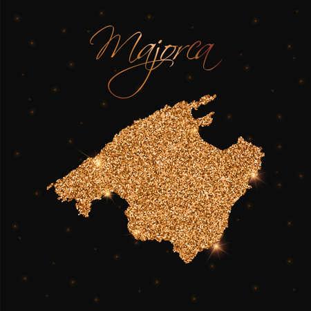 Majorca map filled with golden glitter. Luxurious design element, vector illustration. Ilustração