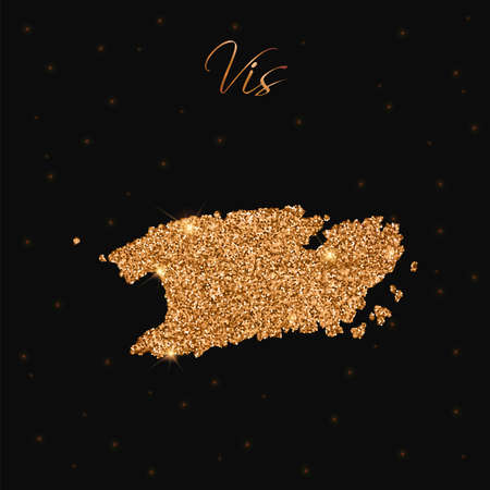 Vis map filled with golden glitter. Luxurious design element, vector illustration.