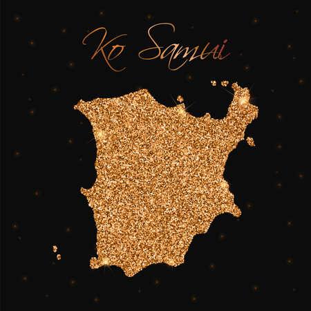 samui: Ko Samui map filled with golden glitter. Luxurious design element, vector illustration. Illustration