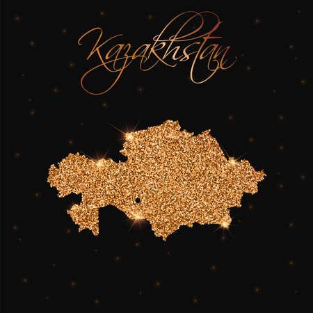 Kazakhstan map filled with golden glitter. Luxurious design element, vector illustration. Illustration