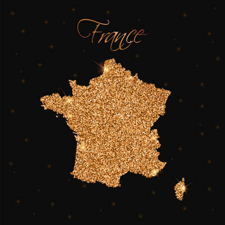silvery: France map filled with golden glitter. Luxurious design element, vector illustration. Illustration