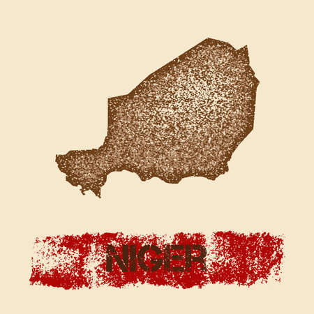 Niger distressed map. Grunge patriotic poster with textured country ink stamp and roller paint mark, vector illustration. Illustration