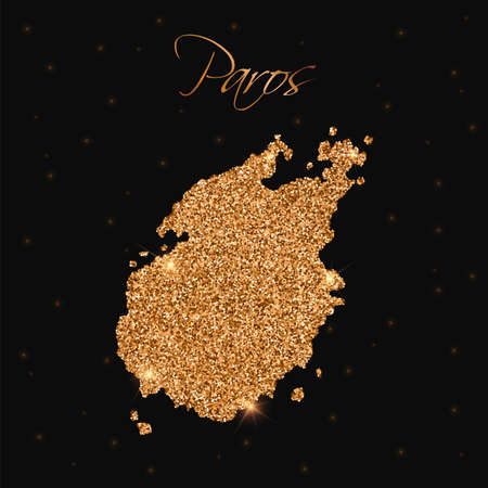 agleam: Paros map filled with golden glitter. Luxurious design element, vector illustration. Illustration