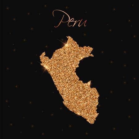republic of peru: Peru map filled with golden glitter. Luxurious design element, vector illustration.