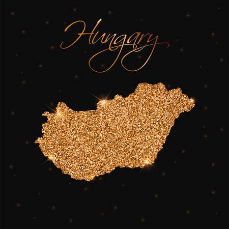 Hungary map filled with golden glitter. Luxurious design element, vector illustration. Illustration