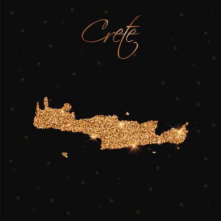 Crete map filled with golden glitter. Luxurious design element, vector illustration.