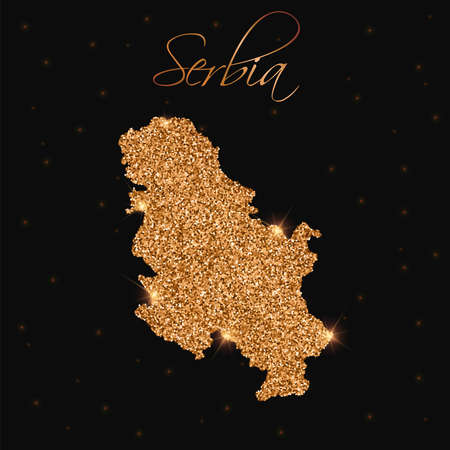 serb: Serbia map filled with golden glitter. Luxurious design element, vector illustration.