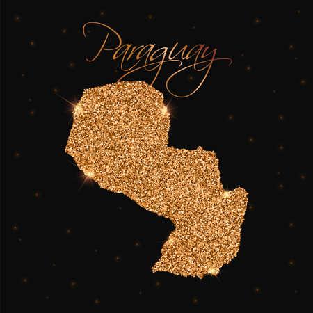 Paraguay map filled with golden glitter. Luxurious design element, vector illustration. Illustration