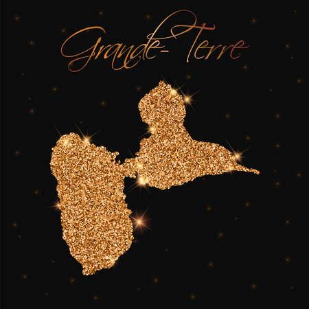 guadeloupe: Grande-Terre map filled with golden glitter. Luxurious design element, vector illustration. Illustration