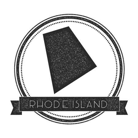 Rhode Island Vector Map Stamp Retro Distressed Insignia With Us State Map Hipster Round