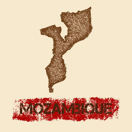 Mozambique distressed map. Grunge patriotic poster with textured country ink stamp and roller paint mark, vector illustration. Illustration
