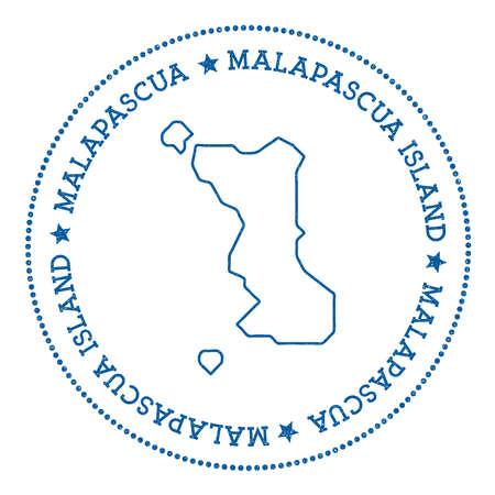 cachet: Malapascua Island map sticker. Hipster and retro style badge. Minimalistic insignia with round dots border. Island vector illustration.