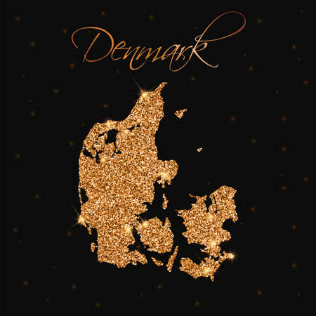 Denmark map filled with golden glitter. Luxurious design element, vector illustration.