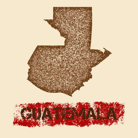 Guatemala distressed map. Grunge patriotic poster with textured country ink stamp and roller paint mark, vector illustration.