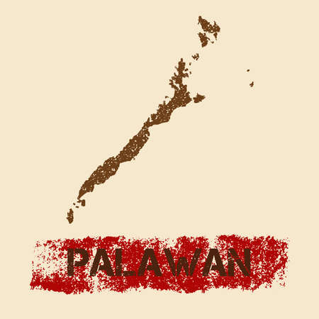 Palawan distressed map. Grunge patriotic poster with textured island ink stamp and roller paint mark, vector illustration.