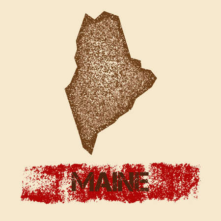 Maine distressed map. Grunge patriotic poster with textured state ink stamp and roller paint mark, vector illustration.