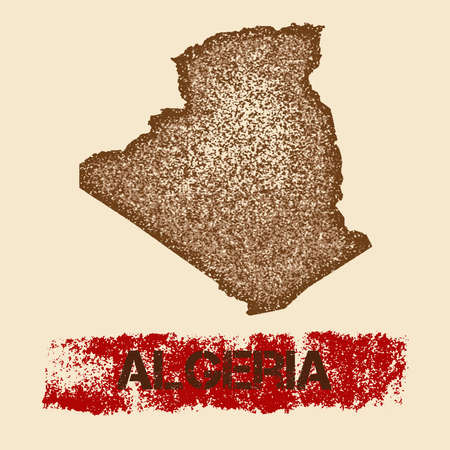 Algeria distressed map. Grunge patriotic poster with textured country ink stamp and roller paint mark, vector illustration.