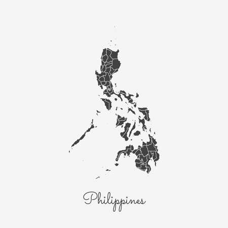 Philippines region map: grey outline on white background. Detailed map of Philippines regions. Vector illustration. Illustration