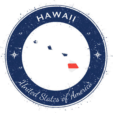 Hawaii circular patriotic badge. Grunge rubber stamp with USA state flag, map and the Hawaii written along circle border, vector illustration.