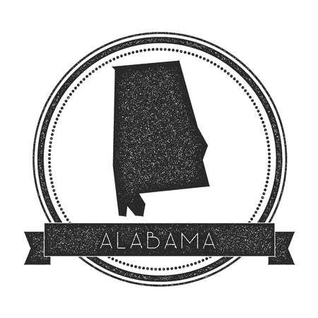 Timbro della mappa vettoriale Alabama. Retro insegne angosciate con la mappa dello stato degli Stati Uniti. Il timbro di gomma rotondo dei pantaloni a vita bassa con l'insegna del testo dello stato dell'Alabama, USA dichiara l'illustrazione di vettore della mappa.
