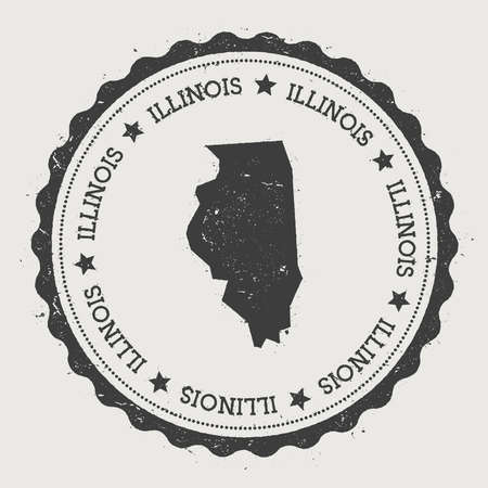 homeland: Illinois vector sticker. Hipster round rubber stamp with US state map. Vintage passport stamp with circular Illinois text and stars, USA map vector illustration.