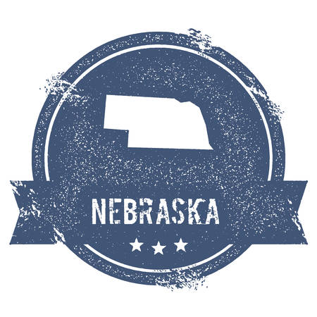 worn: Nebraska mark. Travel rubber stamp with the name and map of Nebraska, vector illustration. Can be used as insignia, logotype, label, sticker or badge of USA state.