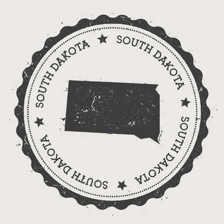 worn: South Dakota vector sticker. Hipster round rubber stamp with US state map. Vintage passport stamp with circular South Dakota text and stars, USA map vector illustration.