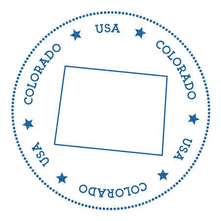 Adesivo mappa vettoriale Colorado. Distintivo di stile retrò e hipster con mappa del Colorado. Insegne minimaliste con bordo a punti arrotondati. Illustrazione di vettore della mappa dello stato di USA