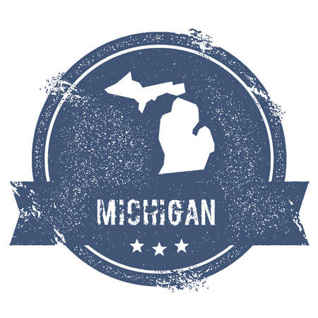 overseas: Michigan mark. Travel rubber stamp with the name and map of Michigan, vector illustration. Can be used as insignia, logotype, label, sticker or badge of USA state.
