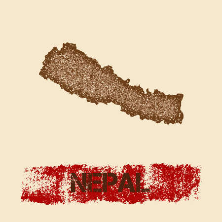 Nepal distressed map. Grunge patriotic poster with textured country ink stamp and roller paint mark, vector illustration. Illustration