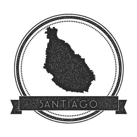 Timbro della mappa dell'isola di Santiago. Retro insegne angosciate. Distintivo rotondo hipster con banner di testo. Illustrazione vettoriale isola.