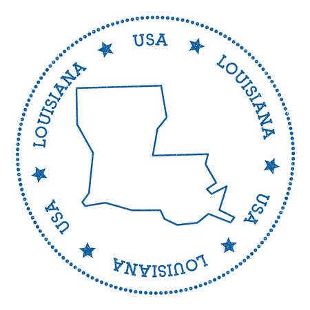 overseas: Louisiana vector map sticker. Hipster and retro style badge with Louisiana map. Minimalistic insignia with round dots border. USA state map vector illustration.