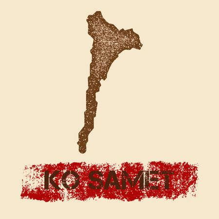 nationalist: Ko Samet distressed map. Grunge patriotic poster with textured island ink stamp and roller paint mark, vector illustration. Illustration