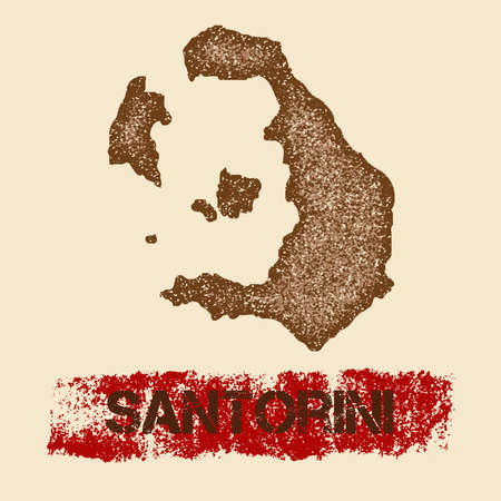Santorini distressed map. Grunge patriotic poster with textured island ink stamp and roller paint mark, vector illustration.