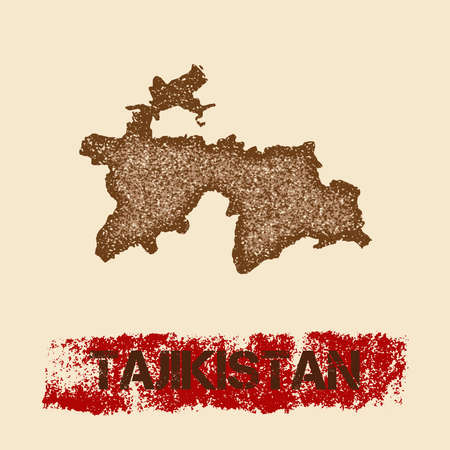 Tajikistan distressed map. Grunge patriotic poster with textured country ink stamp and roller paint mark, vector illustration. Illustration