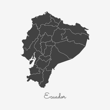 nationalist: Ecuador region map: grey outline on white background. Detailed map of Ecuador regions. Vector illustration. Illustration
