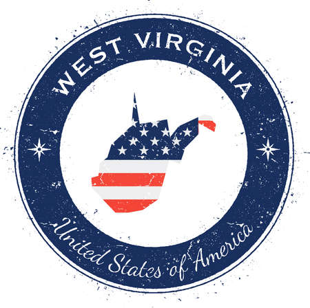 West Virginia circular patriotic badge. Grunge rubber stamp with USA state flag, map and the West Virginia written along circle border, vector illustration.
