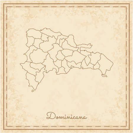 Dominicana Region Karte: stilyzed alte Piraten Pergament Imitation. Detaillierte Karte der Dominicana-Regionen. Vektor-Illustration