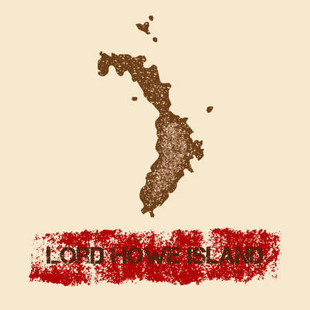 Lord Howe Island distressed map. Grunge patriotic poster with textured island ink stamp and roller paint mark, vector illustration. Illustration