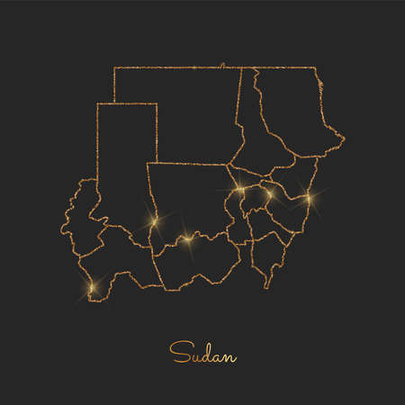 Sudan region map: golden glitter outline with sparkling stars on dark background. Detailed map of Sudan regions. Vector illustration.