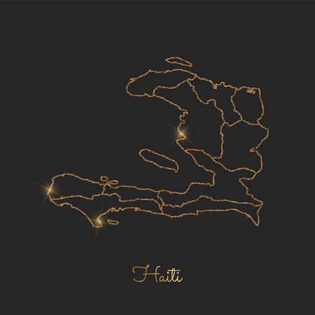 Haiti region map: golden glitter outline with sparkling stars on dark background. Detailed map of Haiti regions. Vector illustration.