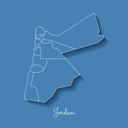 Jordan region map: blue with white outline and shadow on blue background. Detailed map of Jordan regions. Vector illustration. Illustration