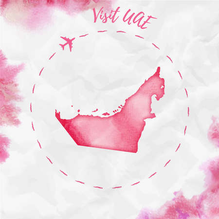 UAE watercolor map in red colors. Visit UAE poster with airplane trace and handpainted watercolor UAE map on crumpled paper. Vector illustration. Illustration