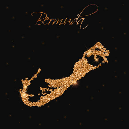 Bermuda map filled with golden glitter. Luxurious design element, vector illustration.