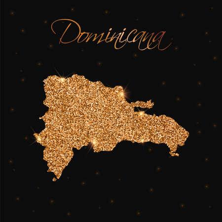 Dominicana Karte gefüllt mit goldenem Glitzer. Luxuriöses Gestaltungselement, Vektorillustration.