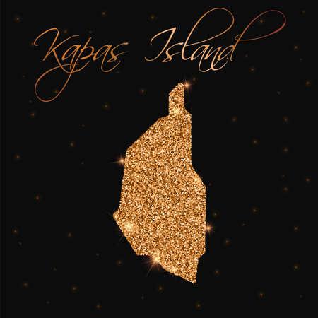 Kapas Island map filled with golden glitter. Luxurious design element, vector illustration. Illustration
