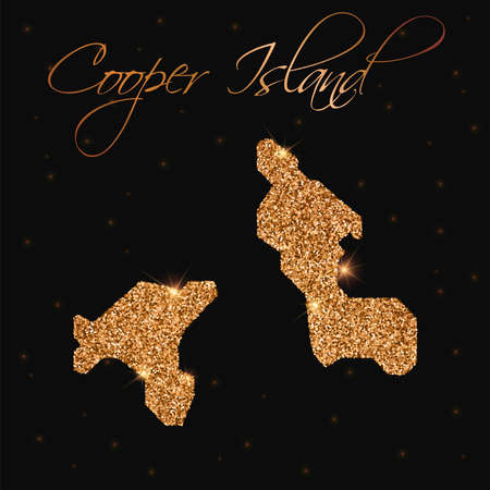 cooper: Cooper Island map filled with golden glitter. Luxurious design element, vector illustration. Illustration