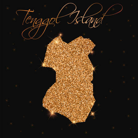 Tenggol Island map filled with golden glitter. Luxurious design element, vector illustration.