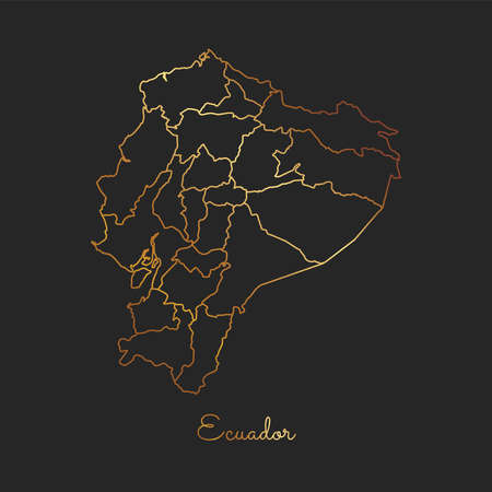 Ecuador region map: golden gradient outline on dark background. Detailed map of Ecuador regions. Vector illustration. Illustration